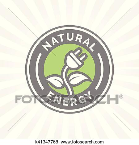Clip Art Of Natural Electricity Energy Icon Symbol With Electric