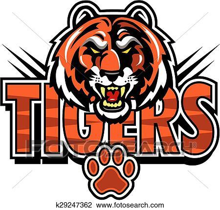clipart of tigers mascot design k29247362 search clip art rh fotosearch com tiger mascot clipart free