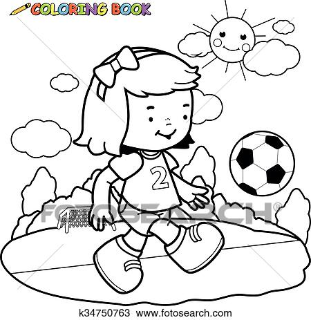 Girl playing soccer. Black and white coloring page Clipart