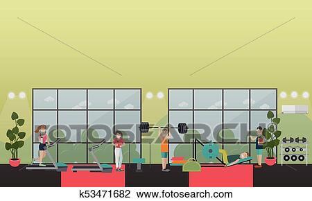 Gym equipment concept vector flat illustration clipart k