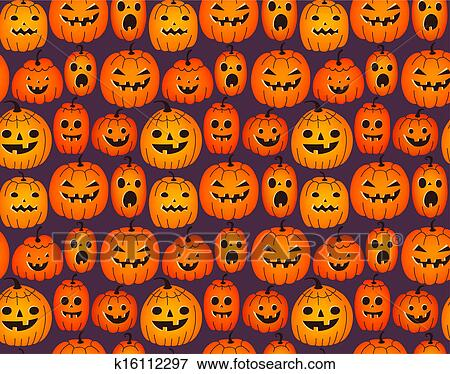 Halloween Background With Funny Pumpkins Stock Illustration