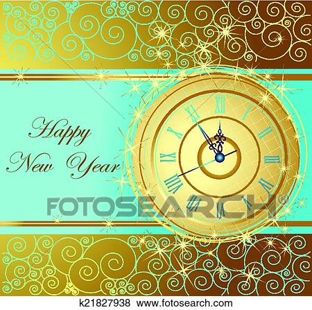 clip art happy new year background with cloc fotosearch search clipart illustration