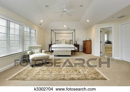 Master bedroom with tray ceiling Picture