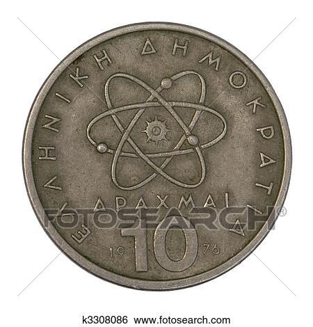 c312162ad8 Archivio fotografico - modello scientifico, di, atomo, su, vecchio, moneta  greca