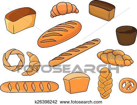 Dessin Boulangerie clipart - pains, et, patisserie, dans, dessin animé, style k26398242