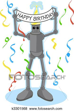 Clip Art Roboter Halten Alles Gute Geburtstag Zeichen K3301568