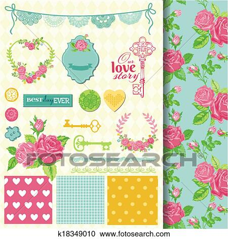 Clipart Of Scrapbook Design Elements Floral Shabby Chic Theme In