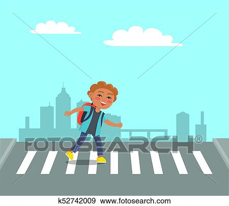 Smiling Boy at Crosswalk on Urban City Background. Clip ...