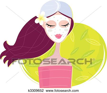 clipart of spa girl with regeneration facial mask k3309652 search rh fotosearch com spa clip art images spa clipart png
