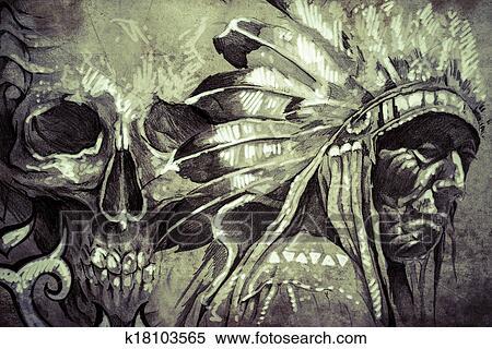 Banque D Image Tatouage Croquis De Indien Amerique Tribal