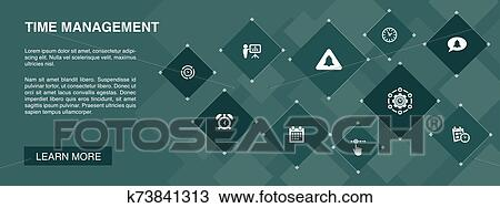 Time Management Banner 10 Icons Concept Efficiency Reminder Calendar Planning Icons Clipart K73841313 Fotosearch