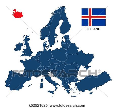 Vector illustration of a map of Europe with highlighted Iceland and  Icelandic flag isolated on a white background Clipart