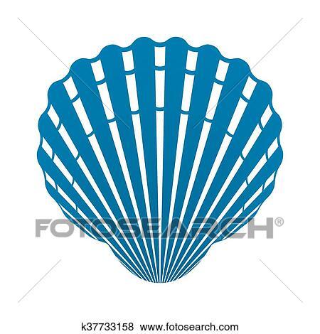ホタテ貝 貝殻 の 軟体動物 アイコン 印 隔離された ベクトル