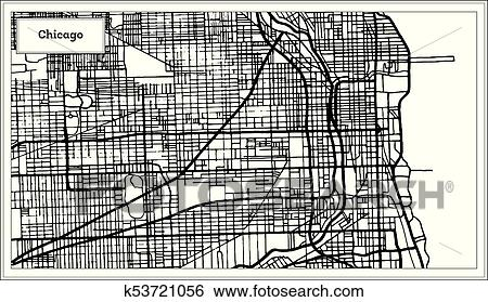 Chicago Illinois USA Map in Black and White Color. Clip Art ...