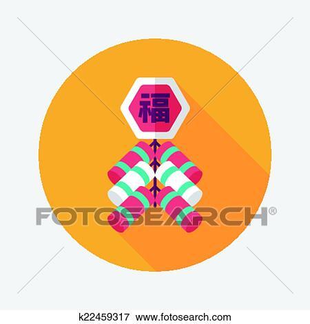 Clip Art - chinesisches neues jahr, flache, symbol, eps10 ...
