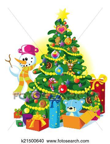 Clipart - glückliches weihnachten, baum k21500640 - Suche Clip Art ...