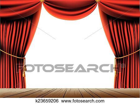 Rouges, théâtre, rideau Clipart