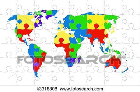 Stock Illustration of World map puzzle rainbow colored k3318808 ...