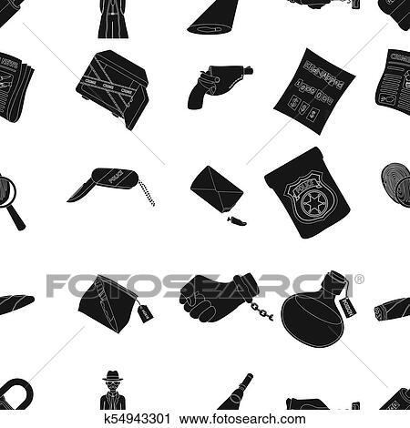 150b4a99a4 ... insigne police, a, loupe, et, a, empreinte doigt, criminel, nouvelles,  et, autre, attributes., détective, et, crime, ensemble, collection, icônes,  dans, ...