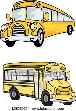 Amarela Onibus Escolares Isolado Branco Clipart K28269764