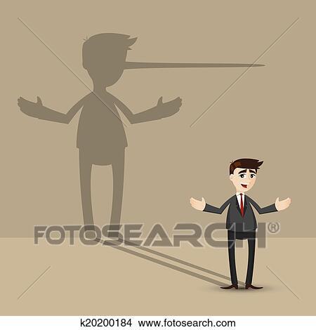 Cartone animato uomo affari con naso lungo ombreggi parete
