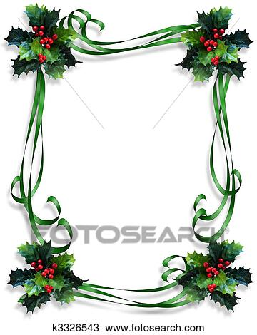 drawing of christmas holly border ribbons k3326543 search clipart