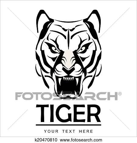 Clipart Colère Tigre Dans Noir Blanc K20470810 Recherchez Des