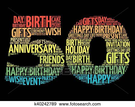 Happy 50th Birthday Word Cloud Clip Art K40242789