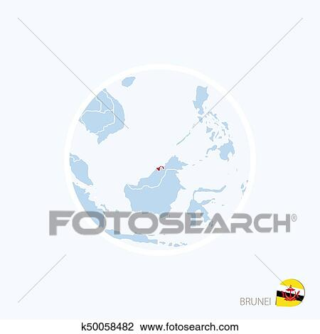 Map Of Asia Brunei.Clipart Of Map Icon Of Brunei Blue Map Of Asia With Highlighted