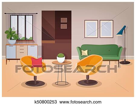 Modern interior of living room full of comfortable furniture and home  decorations - comfy couch, armchairs, coffee table, house plants, floor  lamp, ...