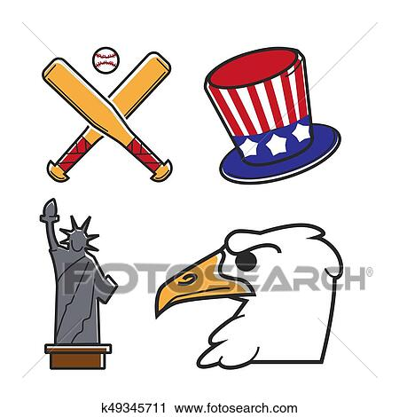 Clipart Of Most Common Symbols Of United States Of America K49345711