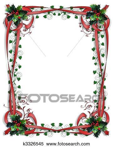 Coleccin de ilustraciones navidad acebo frontera cintas marco