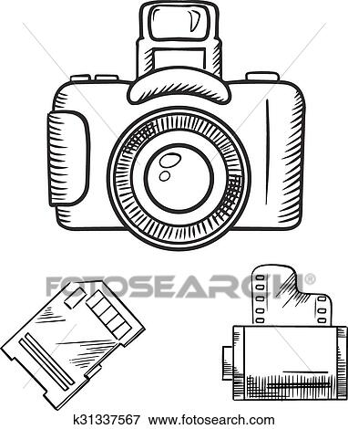 Clip Art Of Photo Camera Memory Card And Film Roll Sketches