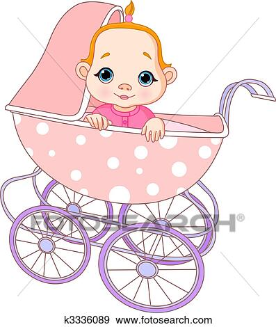 clip art of baby girl in carriage k3336089 search clipart