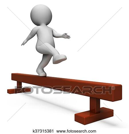 Clipart Of Balance Beam Means Getting Fit And Agility 3d Rendering