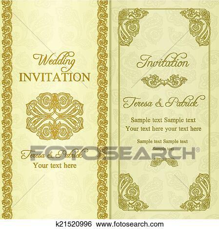 Clip Art Barock Hochzeitskarten Gold K21520996 Suche Clipart