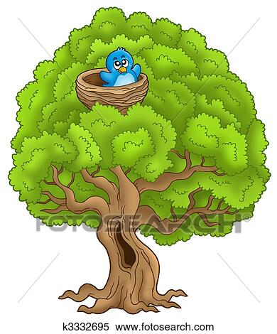 Big Tree With Blue Bird In Nest Stock Illustration K3332695