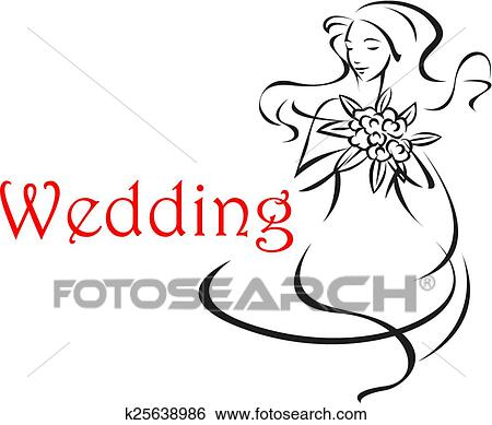 Clip Art Of Bride With Long Curly Hair Wedding Card K25638986