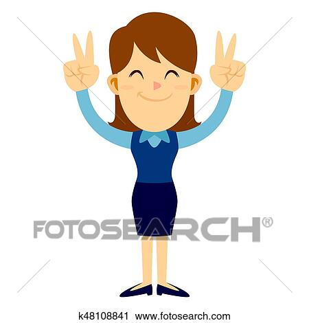 clipart of business woman doing two peace hand sign k48108841 rh fotosearch com business woman clipart images businesswoman clipart png