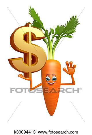Cartoon character of carrot with dollar sign Drawing