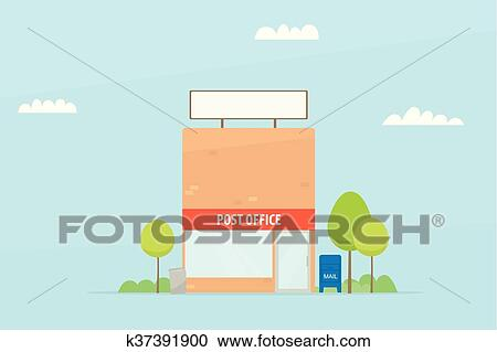 Clipart Of Cartoon Post Office Building K37391900 Search Clip Art