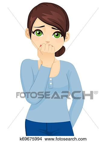 A Young Woman With Glasses Looking Horrified And Scared – Clipart Cartoons  By VectorToons
