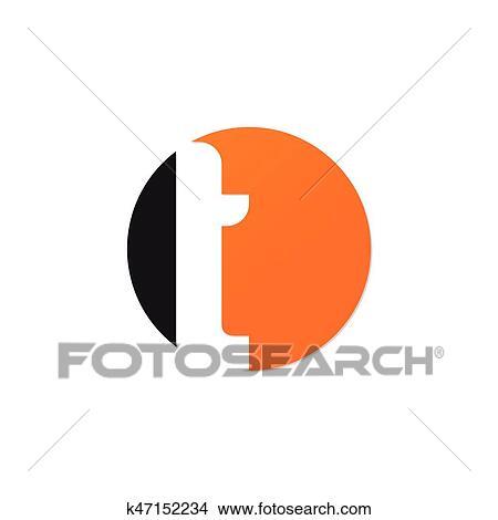 Initiale Lettre T Cercle Logo Orange Noir Clipart