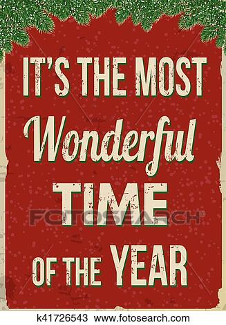It S The Most Wonderful Time Of The Year Retro Advertising Poster Clipart K41726543 Fotosearch