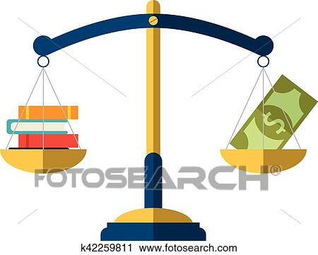 clipart of money and book balance on the scale education concept rh fotosearch com Education Quotes Teaching Clip Art