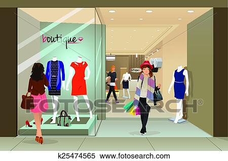 cc41a20aa161 Shopping donna, in, uno, centro commerciale Clipart | k25474565 ...