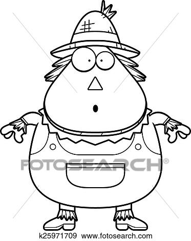 Clip Art Of Surprised Cartoon Scarecrow K25971709
