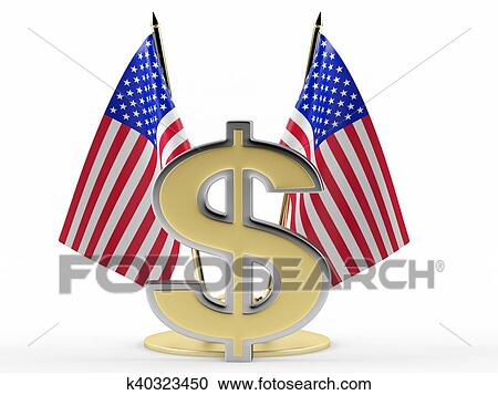 US flag and a dollar sign Clipart