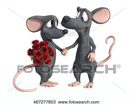 3d Interpretación De Dos Caricatura Ratones Dating