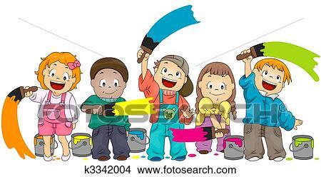 Dessins Enfants Peinture K3342004 Recherche De Clip Arts D